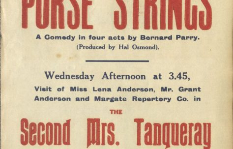 Poster for 'The Purse Strings', 'The Second Mrs Tanqueray' and 'The Blindness of Virtue'
