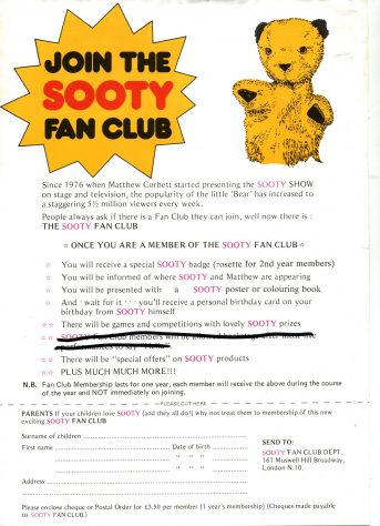 Invitation to join the Sooty Club
