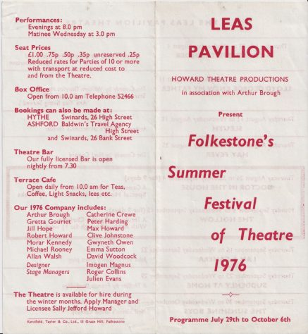 Leaflet for Summer Festival  of  Theatre 1976