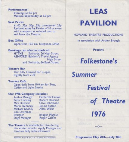 Leaflet for Summer Festival Theatre