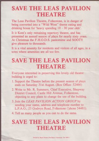 Leaflet 'Save The Leas Pavilion Theatre'