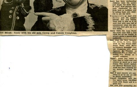 Newspaper cutting, Entertainments Guide 'Lovable puppet back on stage'