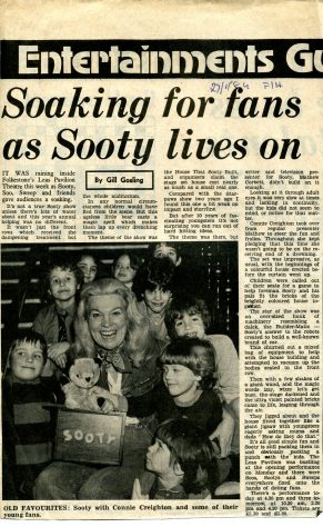 Newspaper cutting, Entertainments Guide 'Soaking for fans as Sooty lives on'