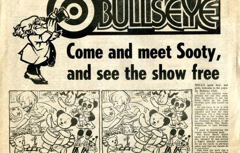 Newspaper cutting, full page of South Kent Gazetteer 11 Jan 1984, 'Come and meet Sooty and see the show free'