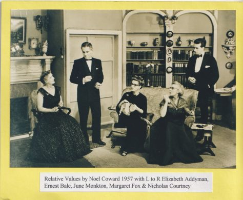 Photograph of actors performing 'Relative Values'