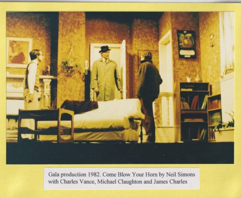 Gala production 1982 of 'Come Blow Your Horn' by Neil Simon with Charles Vance, Michael Claughton and James Charles