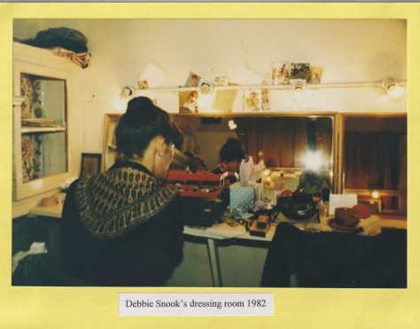 Photograph of Debbie Snook's dressing room