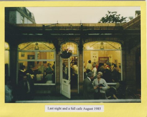 Last night and a full cafe August 1985