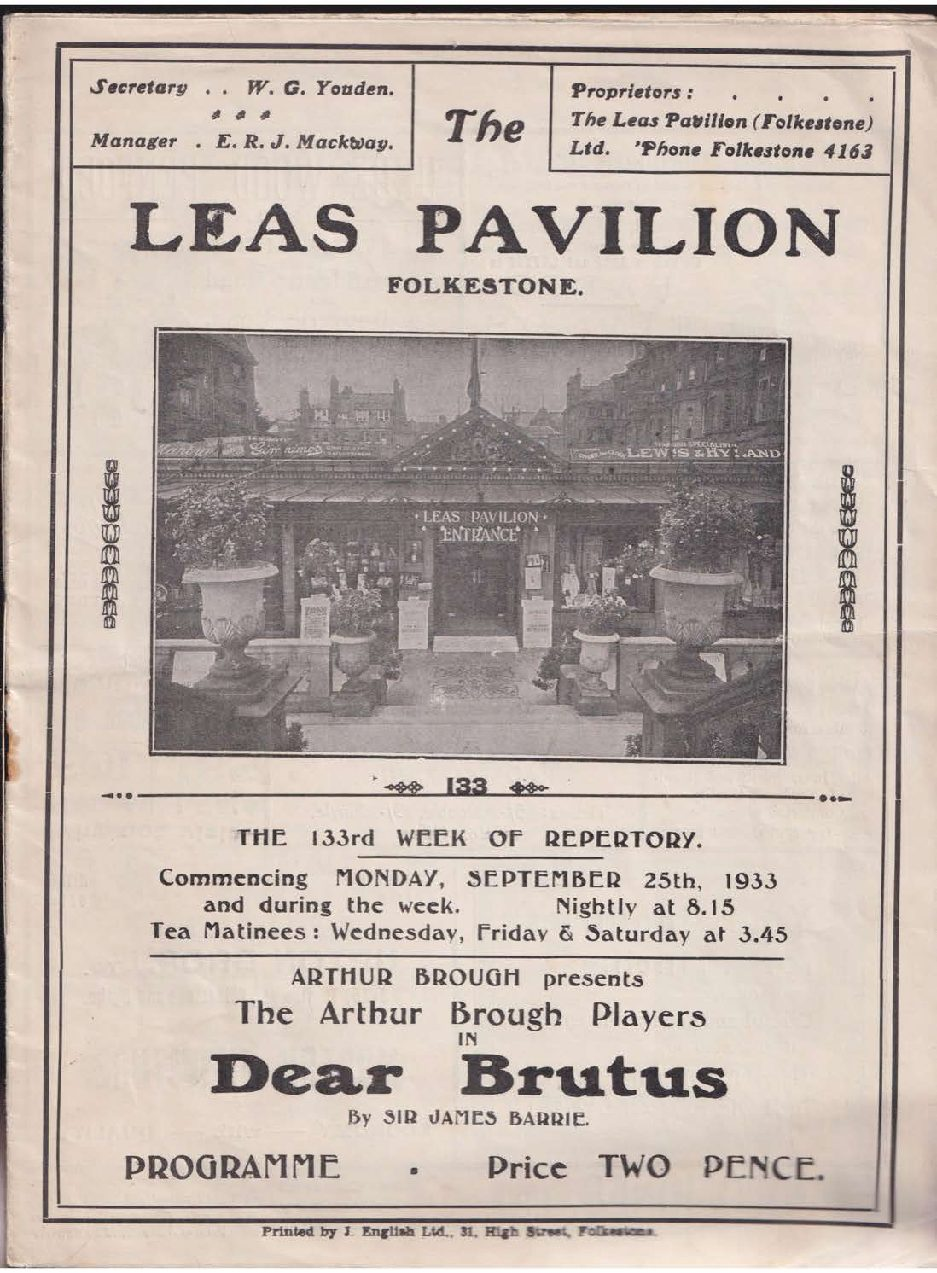 Programme for 'Dear Brutus'