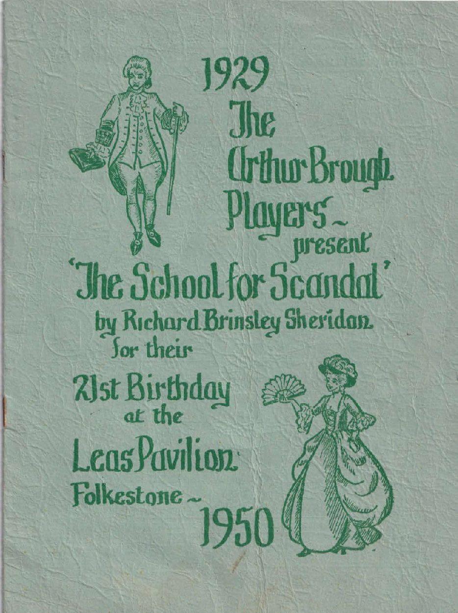 Programme for 'School for Scandal'