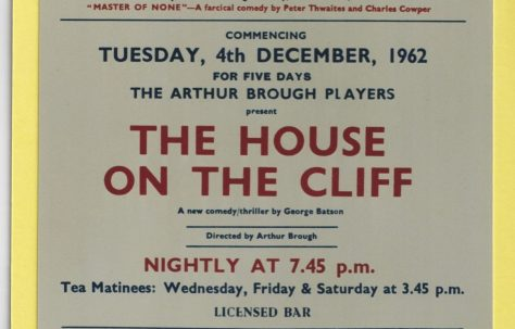 Photograph of a typical notice showing 'The House on the Cliff' in 1962