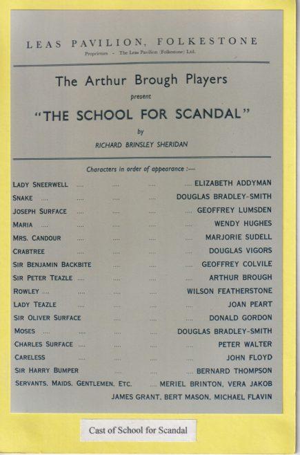 Cast list for 'School for Scandal'