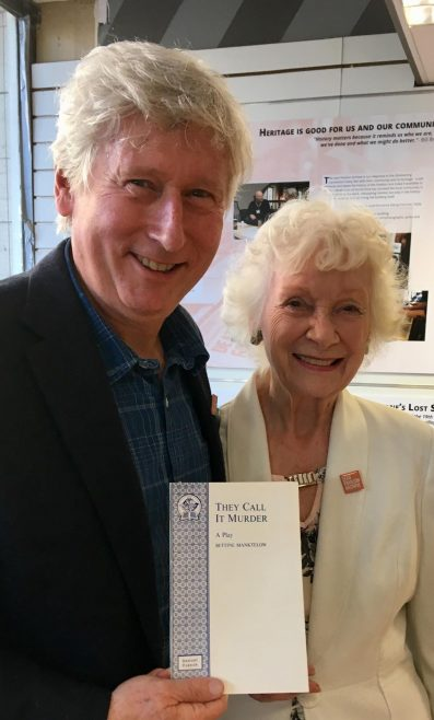 Max Howard, son of former owners Robert and Sally Howard, and Bettine Manktelow show off one of her scripts
