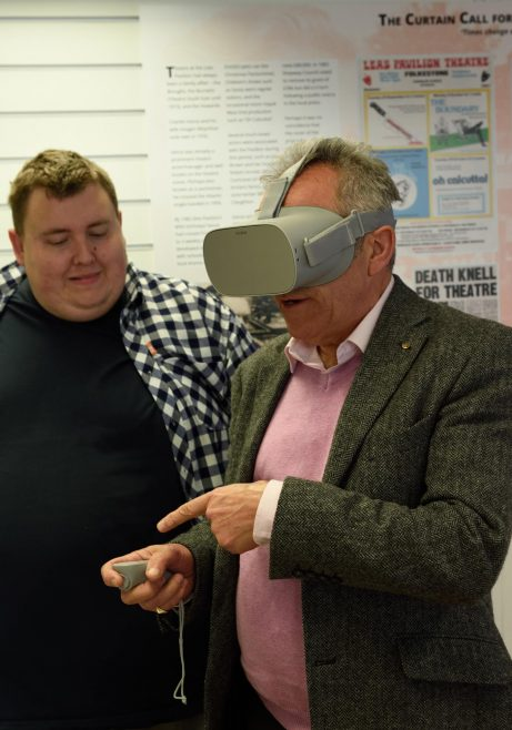 Architect Roger Joyce is wowed by the 3D video tour of the Leas Pavilion, demonstrated by Sam Hutchings of The Edge at Folkestone College